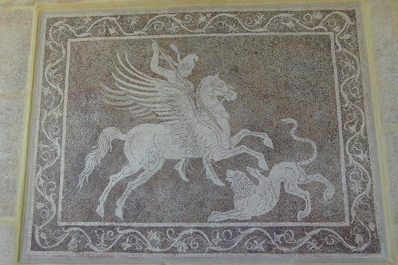 Bellerophon killing of Chimaera-Mosaic