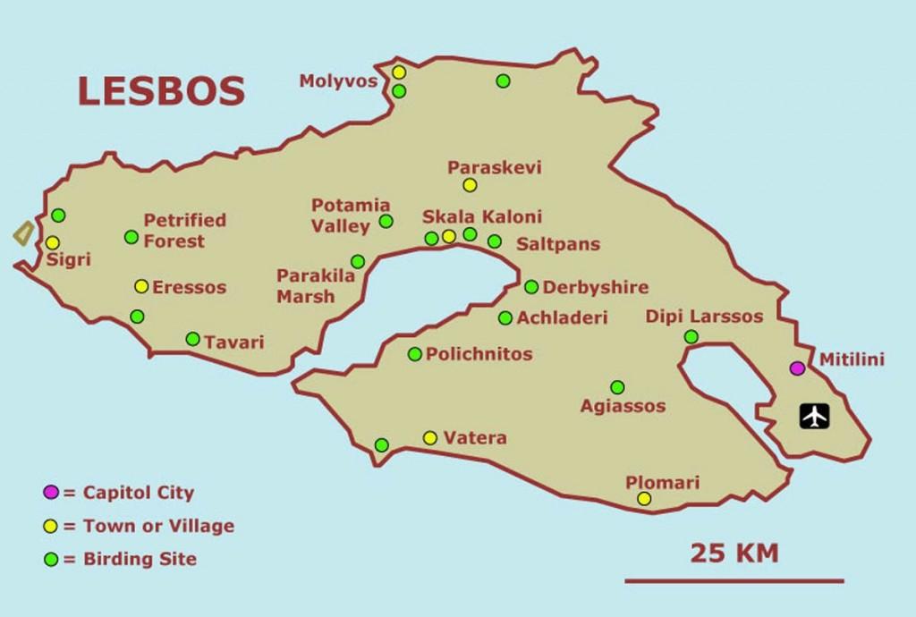 Lesvos Adası Haritası