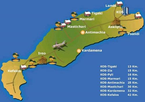 Kos Adası Haritası-Yunanistan